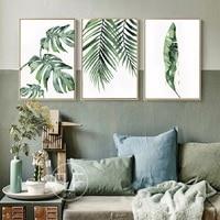 الأخضر يترك المشارك نيميست النبات قماش اللوحة الحديثة الشمال الديكور المنزل الفن جدار صور لغرفة المعيشة لا الإطار