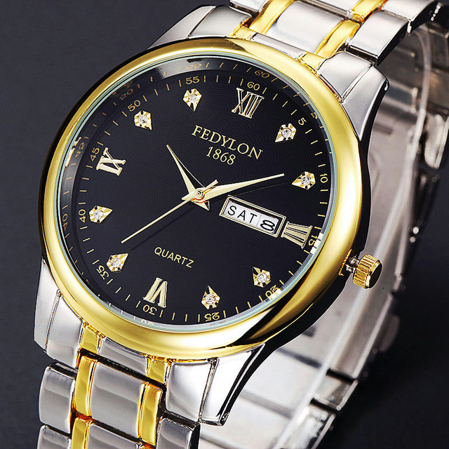 Hot Sale FEDYLON Marca Fino de Alta Qualidade Das Mulheres Dos Homens de Aço Data de Exibição Diamante Relógios de Moda Relógio de quartzo Para O Amante Melhor presente