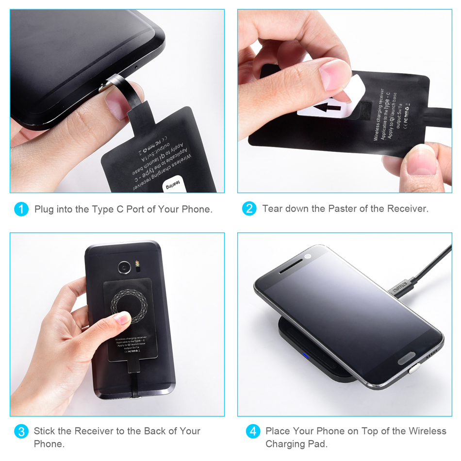 CHOETECH Type C Wireless Charging Receiver USB-C Qi Wireless Charger  Receiver For LG V20/HTC 10 And More Qi-enabled Phones