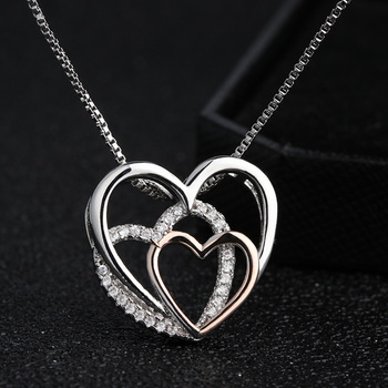 Beautiful Sterling silver three Hearts Necklaces  1