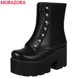Image 1 - MORAZORA Plus size 34 46 Hot sale thick bottom ankle boots women shoes rivets zip soft pu leather thick sole platform boots