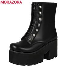 Morazora mais tamanho 34 46 venda quente botas de tornozelo de fundo grosso sapatos femininos rebites zip macio couro do plutônio botas de plataforma de sola grossa