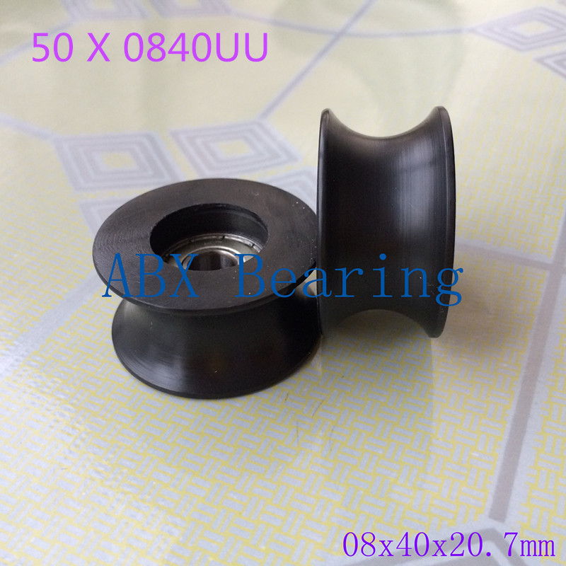50PCS 0840UU BU0840 608ZZ 608Z 608 U Groove pulley ball bearings 8x40x20.7mm door bearing coated PA66 nylon 1.57inches bearing