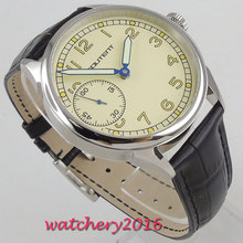 43mm Beige Dial Stainless steel Case Luminous Hands 6497 Hand Winding movement mens Wristwatch