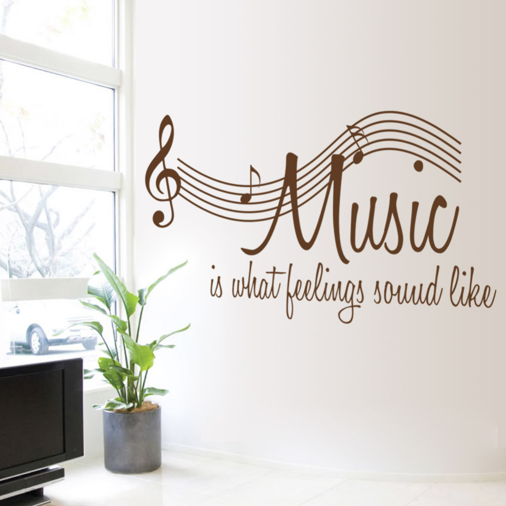 57*106CM Wall Sticker Music Is Feeling Theme Music Bedroom Decor Dancing  Music Note Removable Wall Decals Music Shop Classroom In Wall Stickers From  Home ...