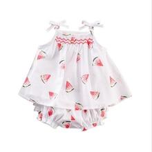 2pcs Kids Baby Girl Newborn Watermelon Sleeveless Strap Shirt Tops+Lace Pants Outfit Cute Infant Girls Clothes Set цена