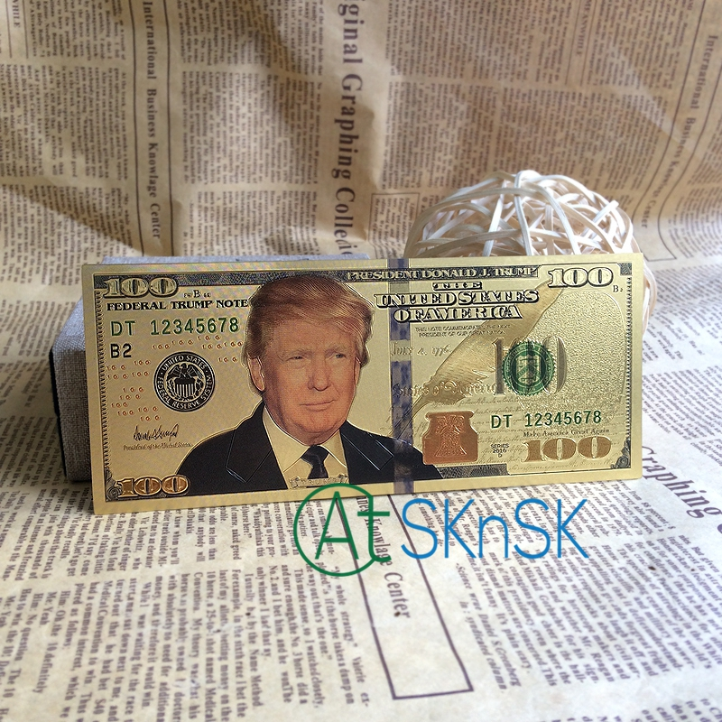 Southkingze New 10pcs Lot Donald Trump Us Dollar Gold Banknote Set Plated 100 Usd Banknotes Foil Bill In From Home Garden On