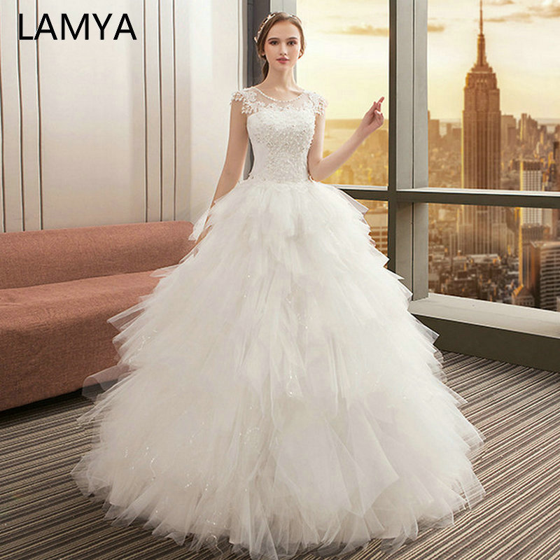 LAMYA Fashionable TuTu Wedding Dresses O Neck Appliques Bridal Gown Bohemian Long Lace Up Vestido De Noiva