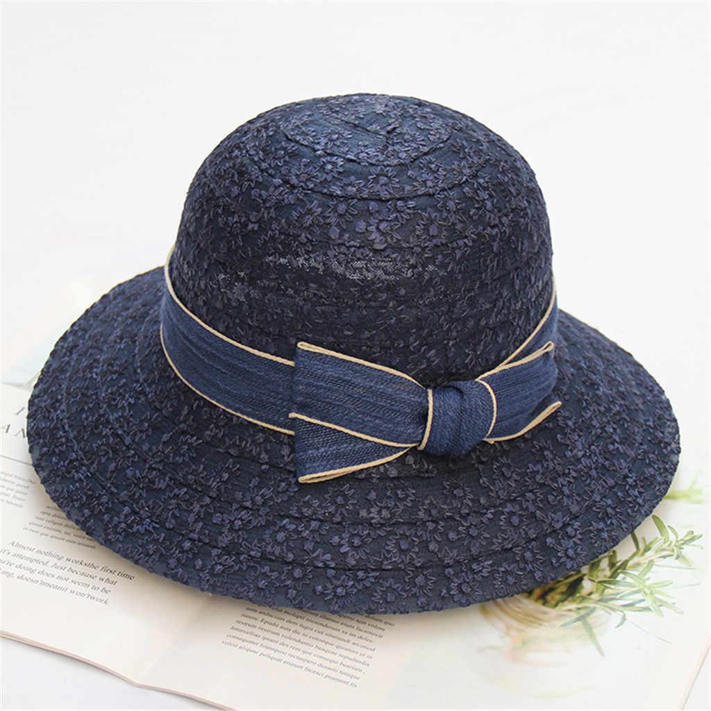 Sombrero de sol Womail, verano para mujer, Color sólido, playa, ala grande, sombrero flexible, sombrilla, viaje, iglesia, fiesta, moda Casual 2019 MA1