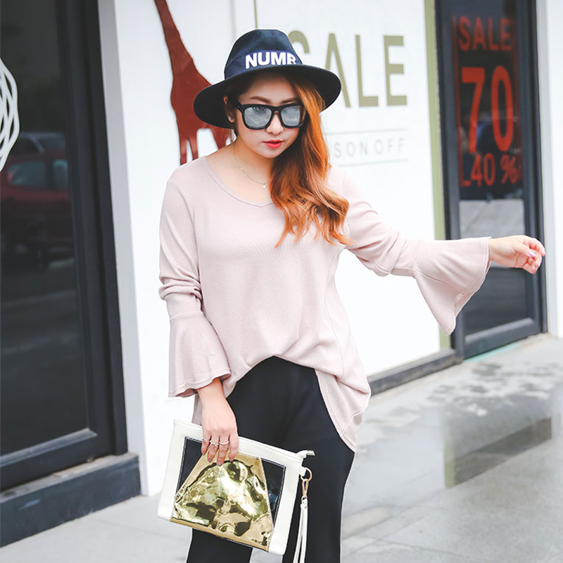 Large code shirt female fat mm fall 280 pounds of fat sister loose collar horn long sleeved 281