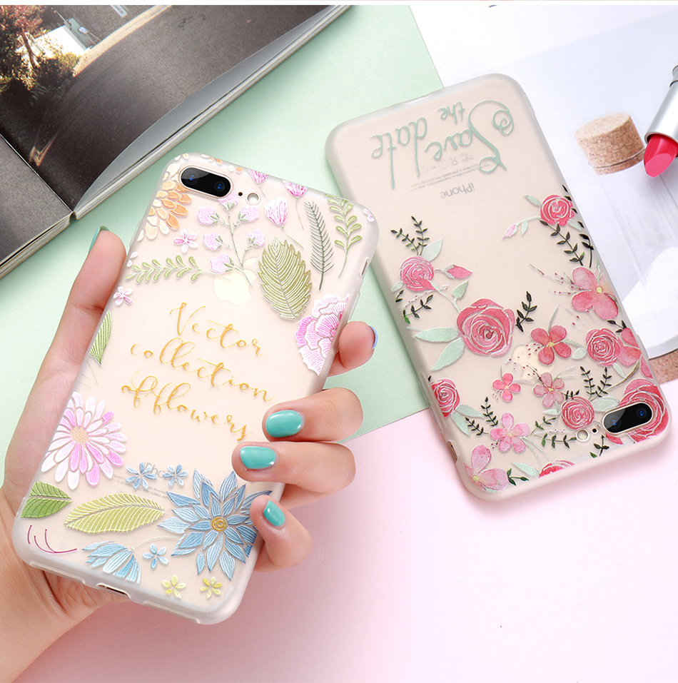 flower patterned case for iPhone 6 6s 7 Plus (9)
