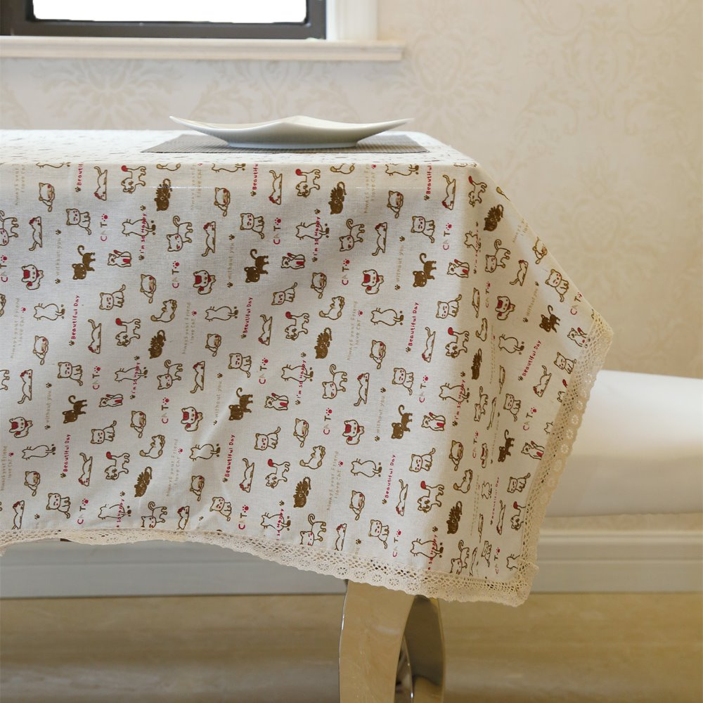 Latest High Grade Eco Friendly Linen Cartoon Cats Sequin Table Cloth