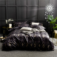 2018 Europe style Luxury Cotton satin Bedding Set Queen size bed jacquard print Duvet Cover Bed sheet set Pillowcase