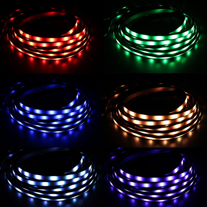 4pcs High Intensity LED Car Underglow Underbody System Led knight rider light RGB Colors Running Strip Light 90cm+120cm9