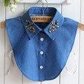 Golas Destacáveis Pérolas de Cristal de Diamante das mulheres do Estilo Coreano Camisa Cowboy Camisa Camisola Colarinho Falso Destacável
