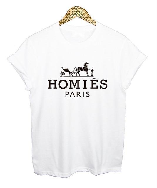 HOMIES PARIS Camiseta TEE TOP PARA MUJER PARA HOMBRE del ESTILO de LA MODA VTG NUEVO BOTÍN INDIE VERANO 100% CAMISETA de ALGODÓN NEGRO BLANCO XS-XXL