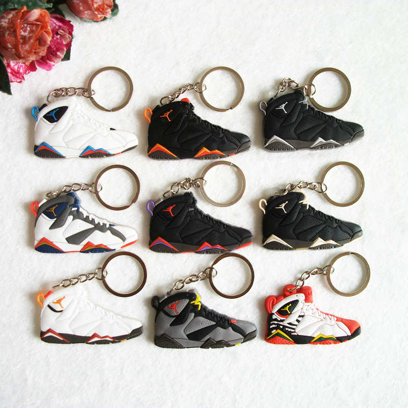 Mini 7 Silicone Jordan Homens Mulher Kids Presentes Chave Anel Keychain Bolsa Charme Acessórios Pingente de Chave Titular Chave Sapatos Sneaker cadeia