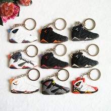 Mini Silicone Jordan 7 Keychain Bag Charm Woman Men Kids Key Ring Gifts Sneaker Key Holder Pendant Accessories Shoes Key Chain(China)
