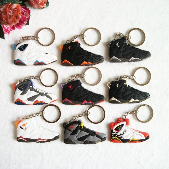 bef47fdb474d73 Mini Silicone Jordan 7 Keychain Bag Charm Woman Men Kids Key Ring Gifts Sneaker  Key Holder