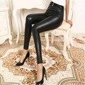 2017 новый леди sexy цветочные кружева кожаные леггинсы марка женщины брюки hallow из кружева на колено брюки для девочки с длинной ножке