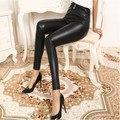 2017 new lady sexy floral lace leather leggings brand women pants hallow out lace on knee trousers for girl with long leg