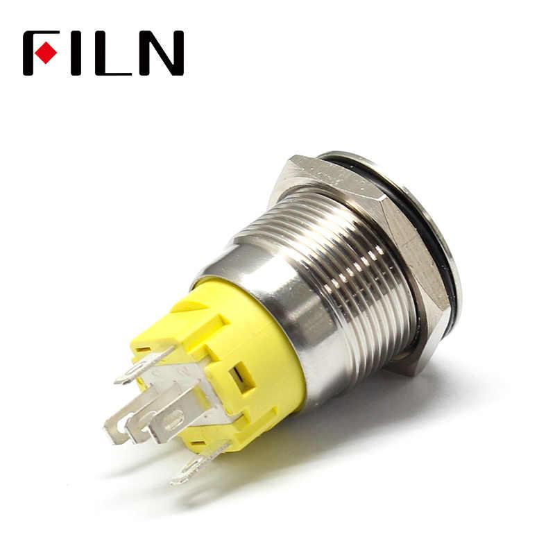 19mm 12 v 24 v LED verrouillage momentané en acier inoxydable anti-vandalisme étanche bouton-poussoir en métal interrupteur avec symbole de phare