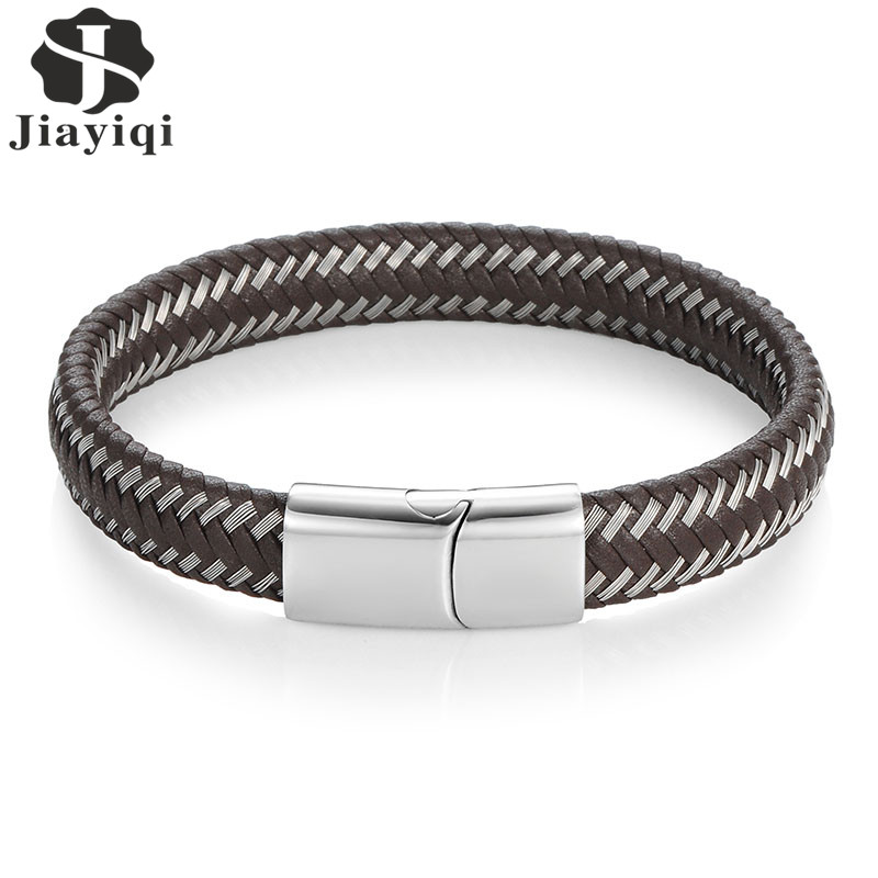 Jiayiqi Vintage Men Jewelry Punk Braided Geunine Leather Bracelet Stainless Steel Magnetic Buckle Fashion Bangles Black/Brown