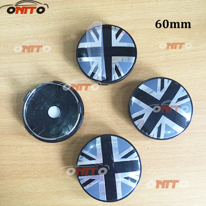 4Pcs 56mm 60mm Round Union Jack UK British Flag Wheel Center Hub Caps Emblems Badge Wheel