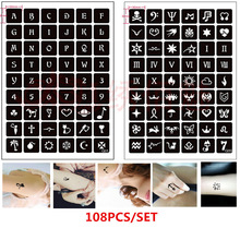 108pcs/set Reusable Henna Stencils for Body Painting Airbrush Stencil English Letters Number Cat Skull Glitter Tattoo Stencil
