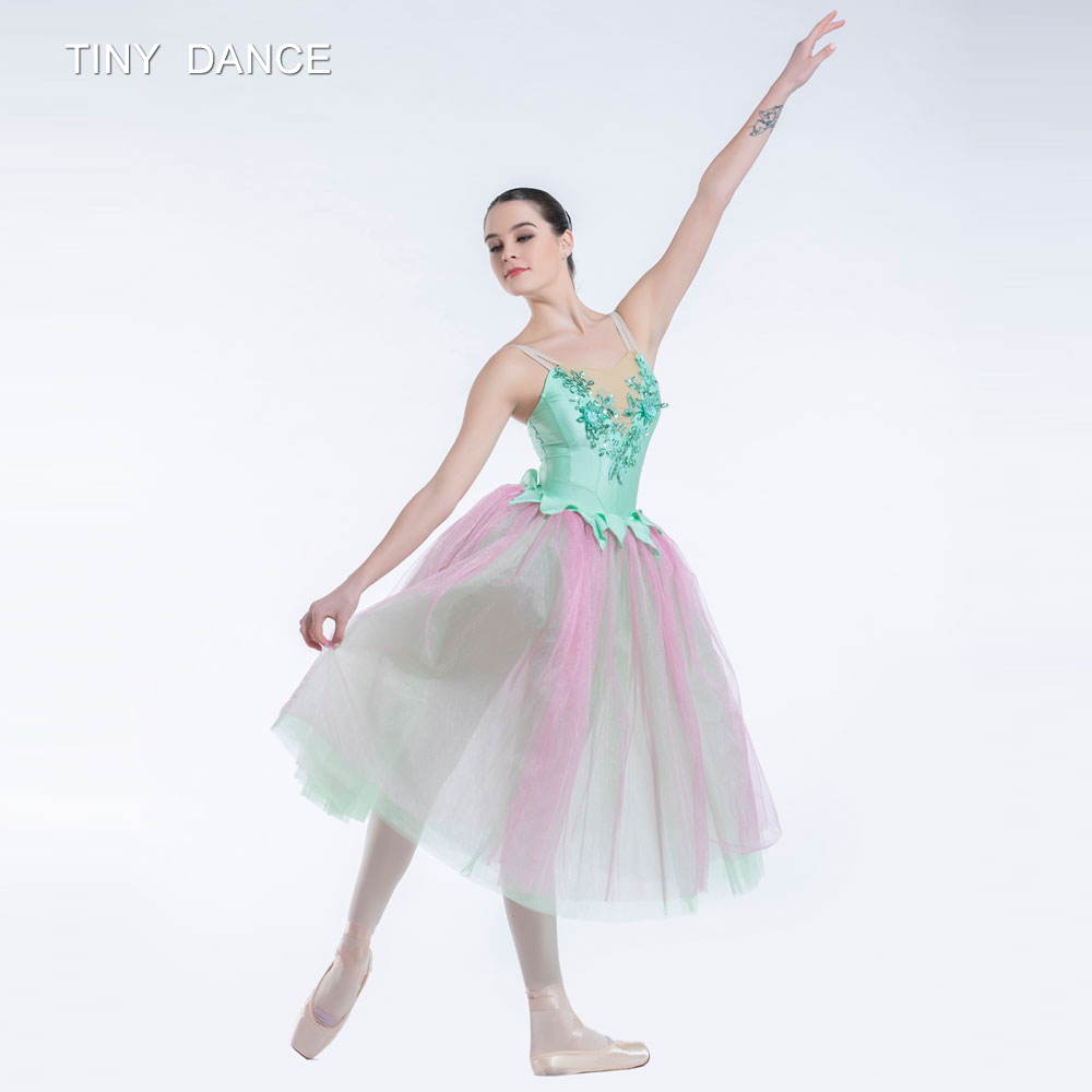 Green/Pink Long Ballet Tutu Ballerina Dress Romantic Tutus ...