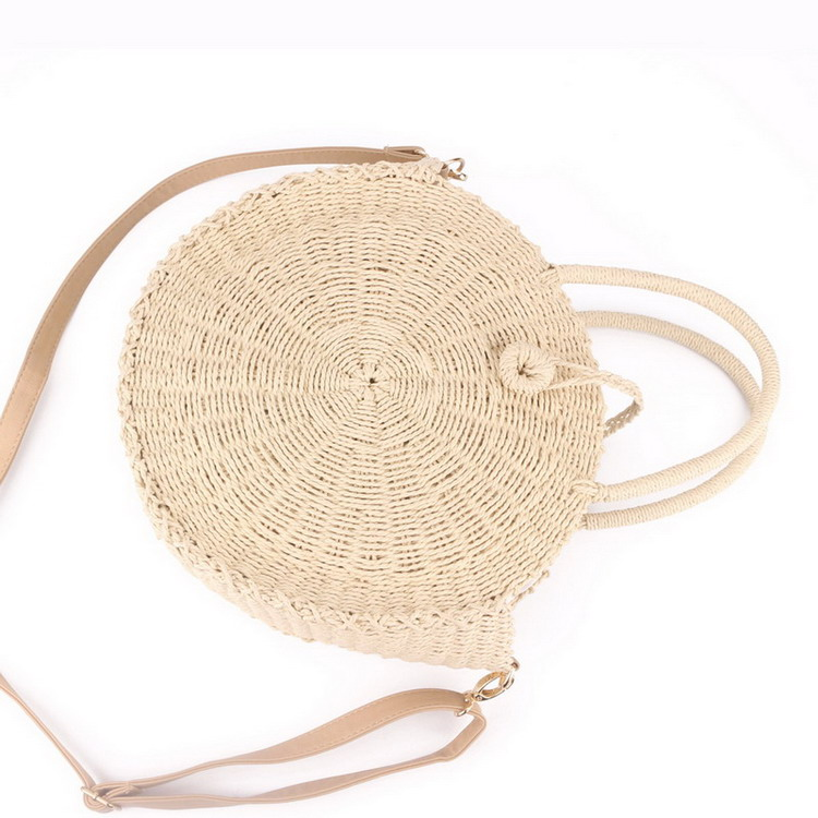 Round Rattan Straw Beach Shoulder Bag