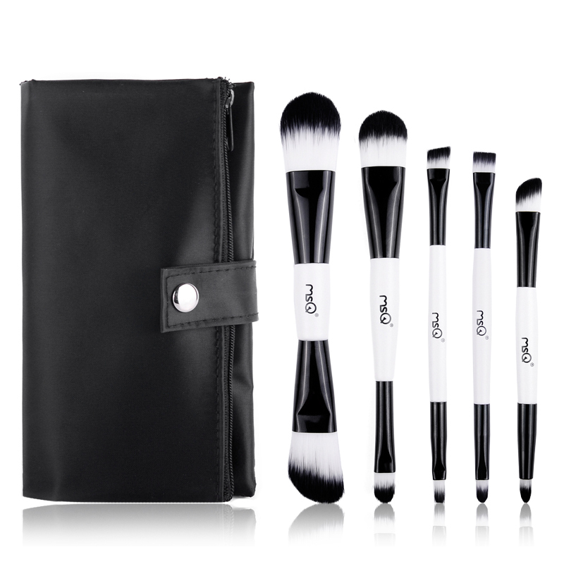 MSQ 5pcs/set Makeup Brushes Set Foundation Eyeshadow Brush Double End Brush with PU Bag  Cosmetic Make Up Brush kit цены онлайн