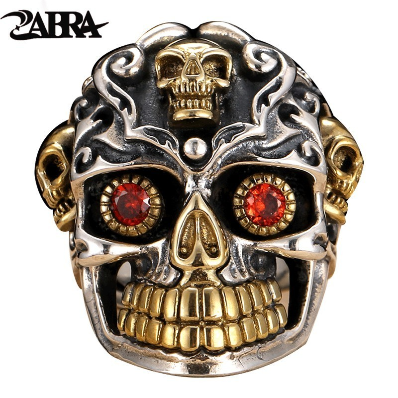 ZABRA Punk Gothic Skull Silver Rings Red Cubic Zirconia Ring Gold 925 Sterling Silver Rings For Men Jewelry xiagao cool punk real 316l stainless steel red ring men s big red crystal red stones finger rings for man gothic casting ring