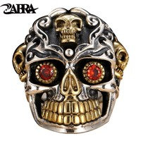 ZABRA Punk Gothic Skull Silver Rings Red Cubic Zirconia Ring Gold 925 Sterling Silver Rings For Men Jewelry