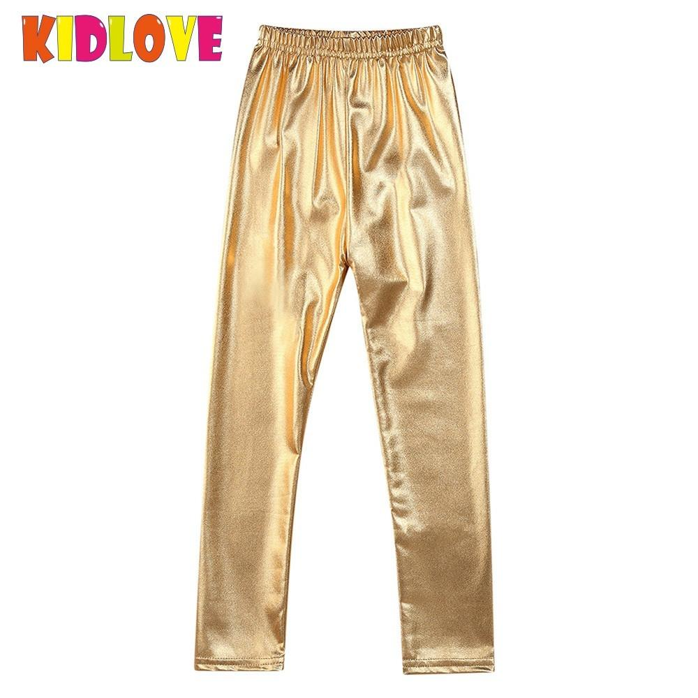 KIDLOVE Girl Leggings Elastic Pants Skinny Gold Metal Colors Sequined Waterproof Windproof Stain-proof Ninth Pants Trousers SAN0