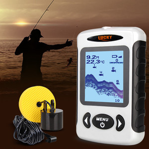 Image 5 - LUCKY Fish Finder 3 Language Russian English German Menu 100m Depth Portable Wired Fishfinder Sonar Sounder Alarm FF718