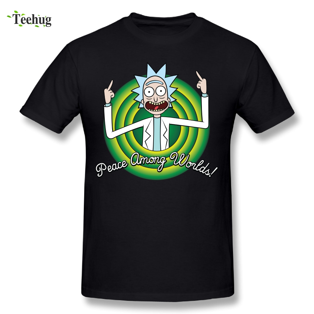 Cool Men Rick And Morty Peace Among Worlds Folks T-Shirts Brand Homme Tee Shirts
