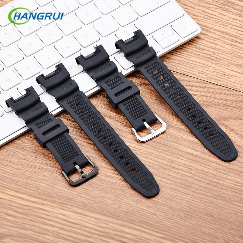 Silicone Watchband Women Men Black Sport Diving Watch Band Strap With Stainless Steel For Casio SGW-100 Samrt Watch