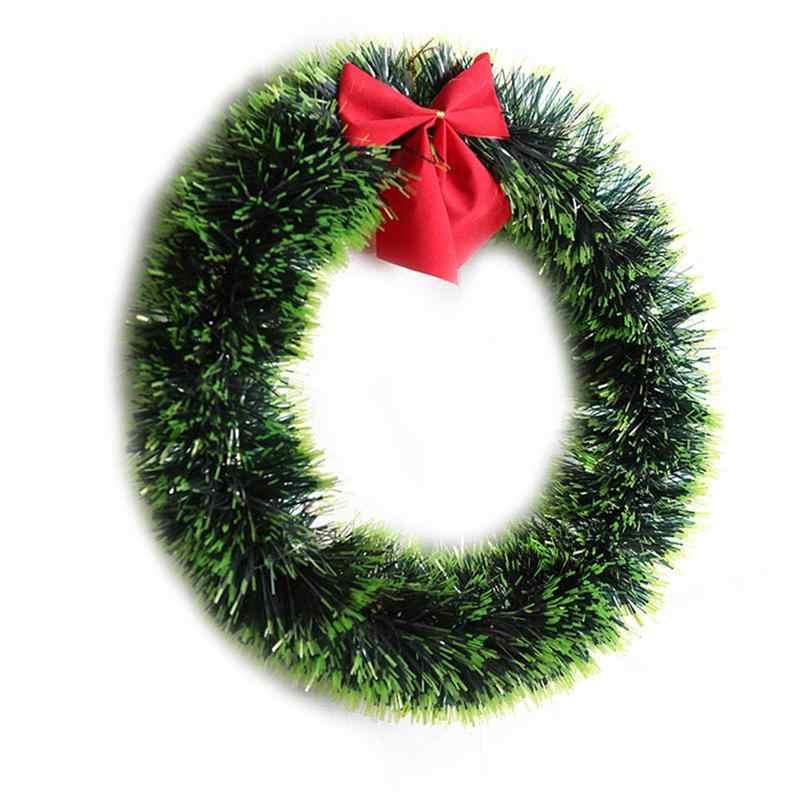 Рождественский зеленый венок Декоративная гирлянда с бантом (зеленый)