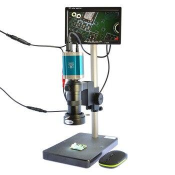 Microscope Camera Set 1080P VGA USB C-Mount Industry Video Recorder 7 inch LCD Monitor 40 LED Light 100X Zoom for PCB Repair DIY