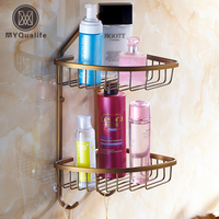 Antique Brass Double Bathroom Shelf Wall Mounted Bathroom Kitchen Storage Holder Shower Cosmetic Rack