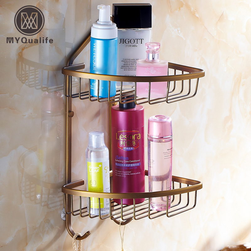 Antique Brass Double Bathroom Shelf Wall Mounted Bathroom Kitchen Storage Holder Shower Cosmetic Rack 20 21mm solid curved end stainless steel screw links wrist watch band bracelet strap glide flip lock deployment clasp buckle
