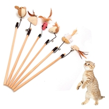 Pet Mouse Cat Toy Feather Cute Design Bird Plush Teaser Stick For Ball Products kitten