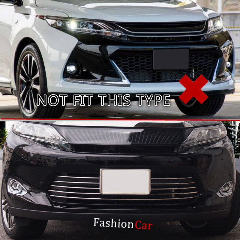 For Toyota Harrier 2013 2014 2015 2016 Front Head Grill Grille Bottom Decoration Strip 6pcs/set car styling car body cover abs chrome lamp trim head front bottom grid grill grille modling strip frame 1pcs for toyota rav4 2014 2015 2016