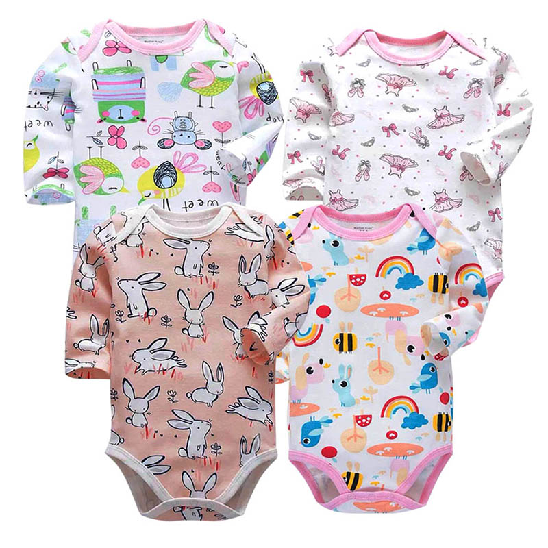 4 Piece lot Newborn Bodysuits Baby Babies Toddler 3 24 Months Long Sleeve Clothes Infant Boys Girls Body suit in Bodysuits from Mother Kids