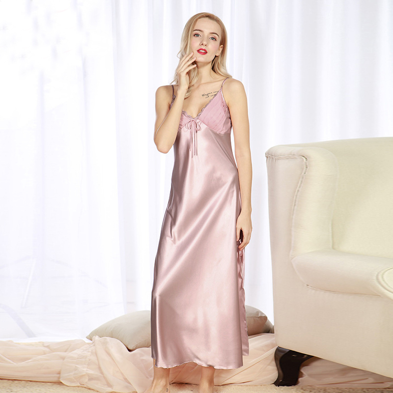 2c7c3603b281 NG081 Women Summer Sleepwear Satin Silk Pyjama Brand Night Gown Plus Size  Nightwear Lingerie Sexy Lace Long Nightgown Sleepshirt-in Nightgowns    Sleepshirts ...