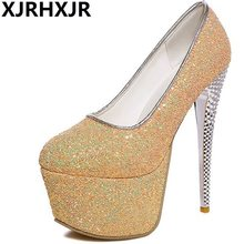 XJRHXJR 16cm High Heels Shoes Woman Gold Sliver Glitter Round Toe Pumps  Ladies Party Wedding Club Shoes Sexy Thin Heels a57919ae16e6