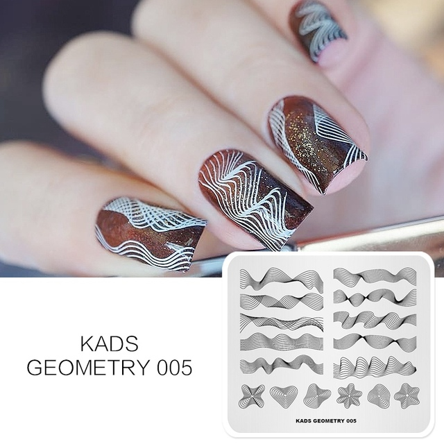 KADS Geometry 005 3D Image Geometric Shape Nail Design Stamp Stencil Nails Tool Nail Art Stamping Plate for Nail Art