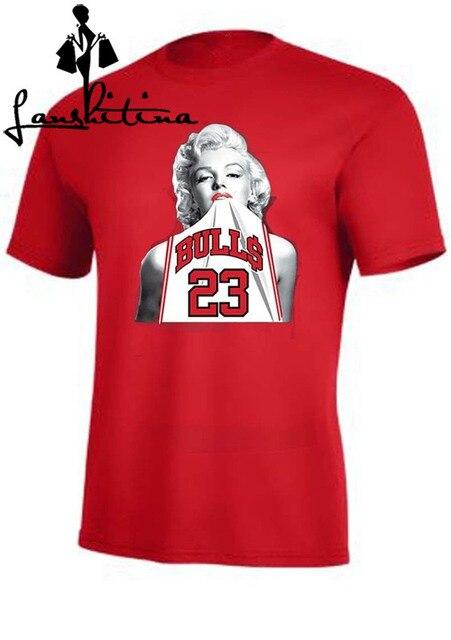 9513fe8e789 Fashion shirt Marilyn Monroe Wearing Michael Jordan 23 Unisex T Shirt Funny  Cool Sex Tank Tee Shirts For Men Women T-shirt