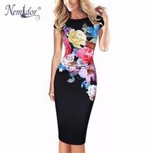 Nemidor Hot Sales Women Slim Patchwork Casual Midi Bodycon Dress Floral Print O neck Work Ruffles